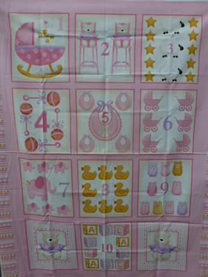 Pink Number Girl Baby Panel