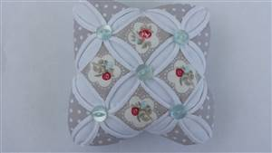 New Colour Pale Silver Floral Cathedral Window Pin Cushion Kit