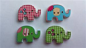 Multicoloured Elephant Wooden Button 35 x 22mm
