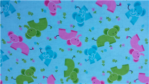 Blue Flannel Fabric + Green/ Pink Elephants