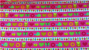 Pink Cotton fabric with Butterflies and Frogs Stripe
