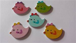 Bird wooden buttons 30 x 24mm