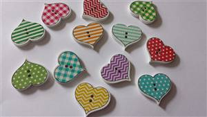 Stripe/check/dot Heart wooden buttons 2.4 x 2.7cm
