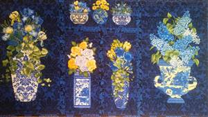 "Botanica 111 Blue Floral Quilting panel 42"" x 23"""