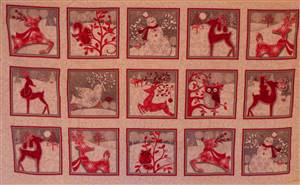 Brushed Cotton Red/White Christmas Panel