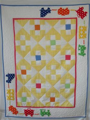 "Bright Seersucker Train Childrens Patchwork Quilt Pattern 45""x 33"""