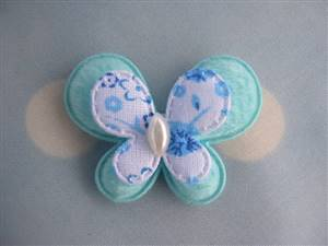 Medium Blue Pearl Butterfly Fabric Applique