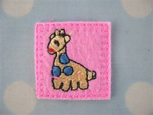 Pink Giraffee Square Fabric Applique