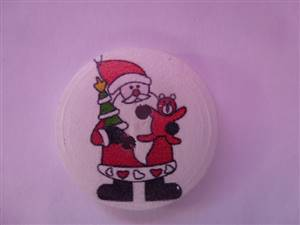 Christmas Santa Wooden Button 30mm white + Red