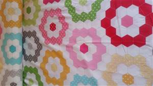 Coloured Hexagon Quilting Fabric