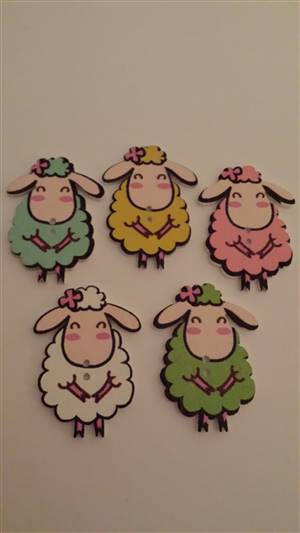 Cute sheep Wooden Button