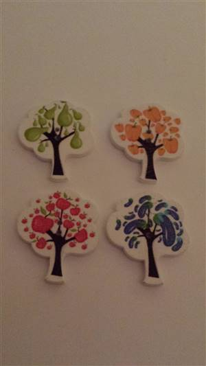 Coloured Tree Wooden Button