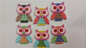 Owl Wooden Button3.5x 2.8cm