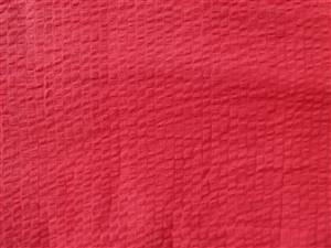 "Red 57"" Wide Hand Dyed Seersucker Cotton Fabric"