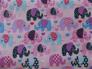 "Pink + Elephants Canvas Fabric. 58"" wide"