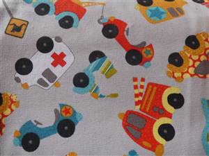 """Grey + Cars Canvas Fabric. 58"""" wide"""