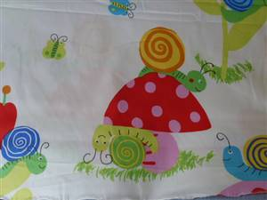White Cotton with cute Snails & Toadstools