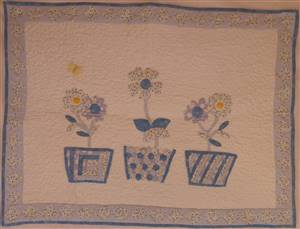 Blue/ White Floral Flowerpots Wallhanging Ex sample