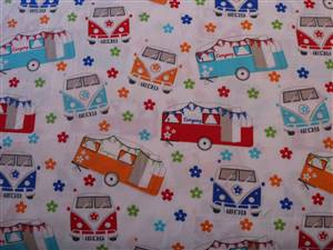 Campervan Car Cotton Fabric