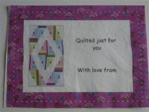 Crimson Quilt Label- Quilted just for You