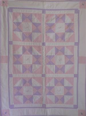 "Pink/Purple Baby Patchwork Seersucker Crib Quilt 34"" x 48"" Kit"