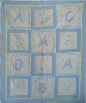 "ABC Patchwork Seersucker Crib Quilt 48"" x 38"" Pattern"
