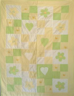 "36"" x 53"" Green/yellow Patchwork Seersucker  Quilt Green/ Yellow"