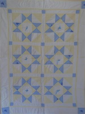 "Yellow/Blue Baby Patchwork Seersucker Crib Quilt 34"" x 48"" Kit"