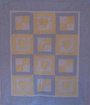 "Heart & Square Pram Throw/Quilt 31"" x 25"""