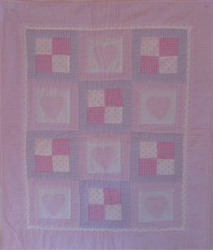 "Pink Heart & Square Pram Throw/Quilt 31"" x 25"""