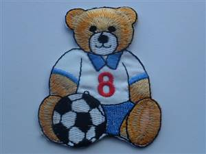 Teddy Football Player Sew/Iron on Patch 60mm