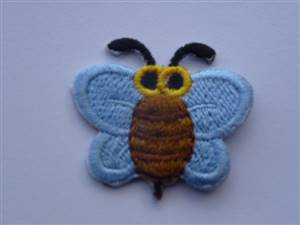 Pale Blue Bumblebee Sew/Iron on Patch 60mm