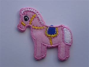 Pink Horse Sew/Iron on Patch 40mm