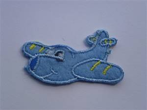 Blue  Airplane Sew/Iron on Patch 40mm
