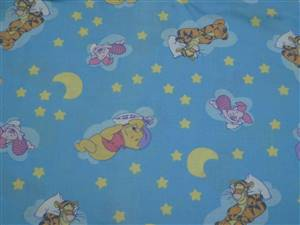 "1M 35"" Piece Pooh/Tiger White Cotton Fabric. 44"" wide"