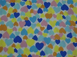 "2M Piece White + Hearts Cotton Fabric. 44"" wide"
