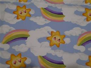 "2.75M Piece Blue + coloured moon & stars Cotton Fabric. 44"" wide"