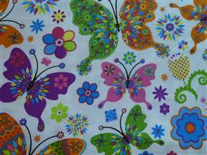 Bright Floral Butterflies Cotton Fabric