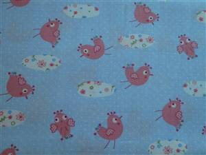 Pale blue spot +  Little Animals Cotton Fabric.