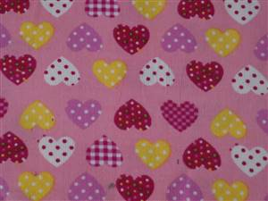 "60"" x 44"" Piece Pink Cord + Hearts Cotton Fabric."