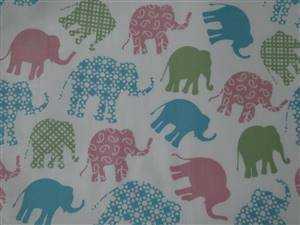 "44"" x 36"" Piece blue/pink Elephants Cotton Fabric. 44"""