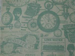 Blue/Green Vintage Clocks, machines  Cotton Fabric