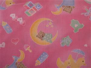Pink Cotton Fabric with ducks/bears and baby items