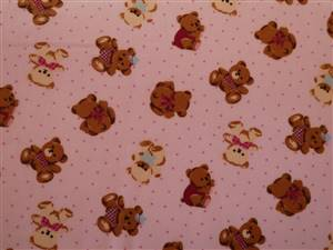 Pink with Brown/cream Bears Cotton Fabric