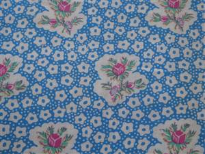 Blue with florals Cotton Fabric