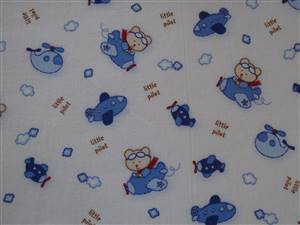Blue & white Planes Cotton Fabric