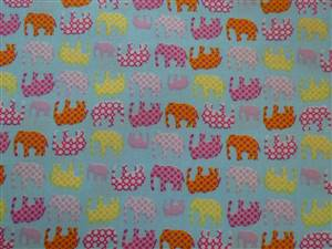 Blue with Coloured Elephants Cotton Fabric