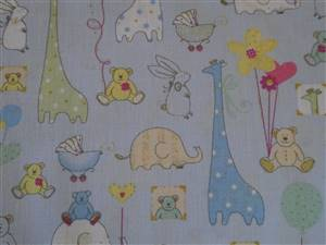 Blue + small animals Cotton Childrens Fabric