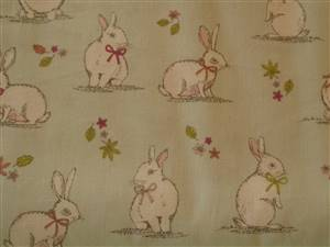 Pale Green Cotton + Rabbits Fabric