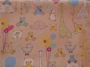 Cream + small animals Cotton Childrens Fabric
